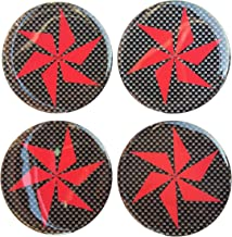 38 mm Turbine Blade Fan Domed Wheel Cap Hub Decal Decals Center Black Red Reflective Kevlar Carbon Fiber 4 Pcs Gloss 3D Gel Rear Resin Motorcycle Sticker Badge Trunk Truck Rims All Series Safety Racing Automotive