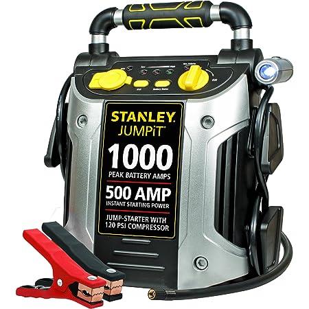 STANLEY J5C09 JUMPiT Portable Power Station Jump Starter: 1000 Peak/500 Instant Amps, 120 PSI Air Compressor, USB Port, Battery Clamps