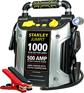 STANLEY J5C09 Power Station Jump Starter: 1000 Peak/500 Instant Amps, 120 PSI Air Compressor, Battery Clamps