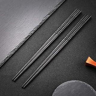 hopewey Palillos japoneses 5 Pares de bastidores de Almuerzo de aleación Reutilizables bastidores Lavables para Juegos de vajilla de Mesa Negro Hecho a Mano G3