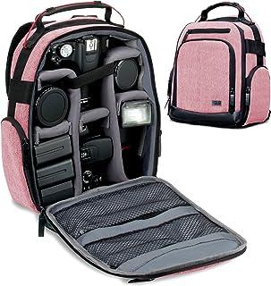 USA GEAR Mochila para Cámara Portátil para DSLR (Roja) con Divisores de Accesorios Personalizables Fondo Resistente a la Intemperie y Respaldo Cómodo - Compatible con Canon Nikon Sony y más SLR