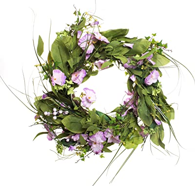 Red Co. Summer Violets Bouquet Wreath - Purple & White Flower Petals, 22 Inches