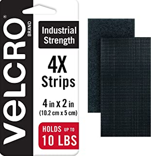 VELCRO Brand Heavy Duty Fasteners | 4x2 Inch Strips 4 Sets | Holds 10 lbs | Stick-On Adhesive Backed | Black Industrial St...