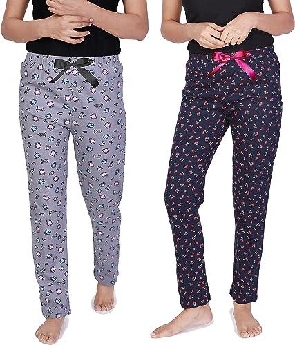 Real Basics Women's Pyjama-100% Cotton Regular fit Sleepwear/Lounge wear/Bottom-Pack of 2