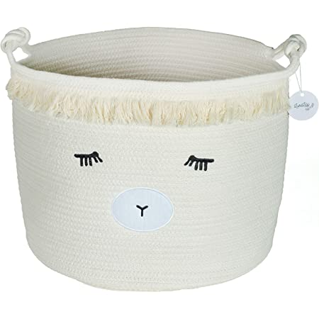 Bear Storage Basket Woven Cotton Rope Basket Collapsible Decorative Hamper with Handles for Nursery Kids Room Storage
