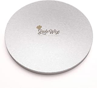 Cake Drum 16 Inch Large Round Board Durable Thick Smooth Edge Elegant Design Cake Tray Beautiful Silver Liner 16 by Half Inch By BakeWize