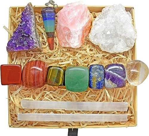 Crystals and Healing Stones Kit with 13 pcs. Healing Crystals, Gemstones and Crystals for Beginners Including Chakra ...