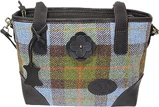 Wild Scottish Deerskin Designer Leather MacLeod Tartan Check Harris Tweed Large Hannah Bag