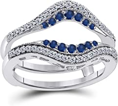 Jewelryhub 14k White Gold Plated Sterling Silver Double Row Pave Set Classic Style Halo Engagement Wedding Enhancer Ring Guard with CZ Blue Sapphire
