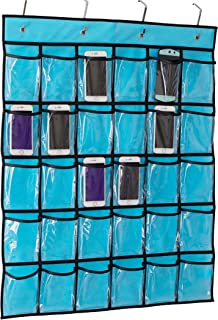Kimbora Classroom Pocket Chart for Teacher Cell Phones Holder Door Hanging Calculator Organizer, 30 Clear Pockets