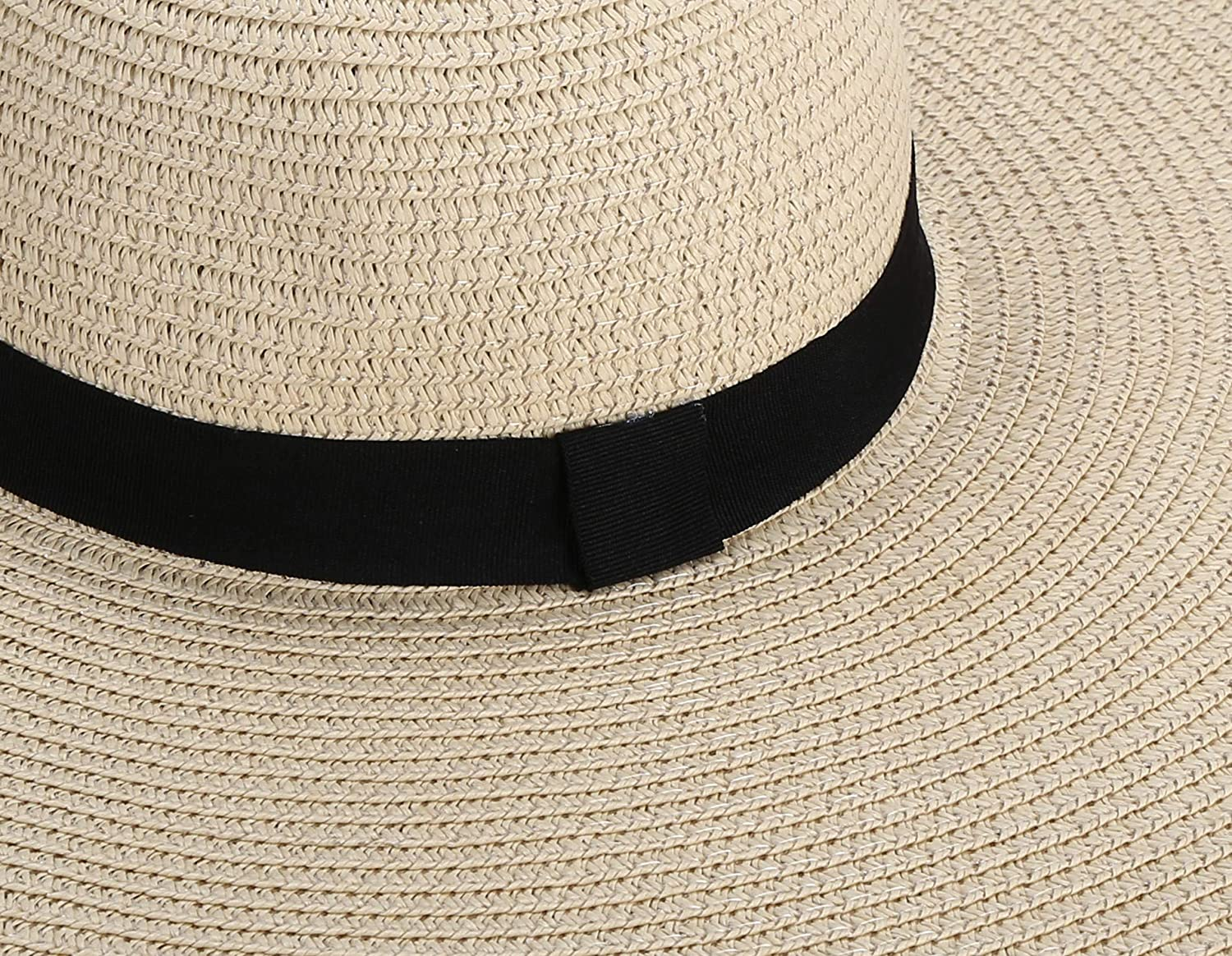 Womens Paper Floppy Embroidered Wide Brimb Adjustable Beach Party Sun Hat with Ribbon Band with Wind Lanyard