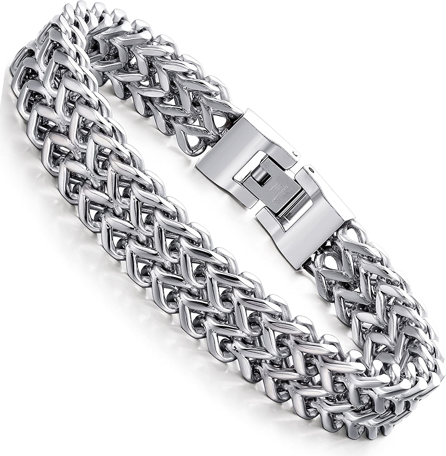 FIBO wholesale STEEL Limited price sale Stainless Steel 12MM Chain Bracelet Two-Strand Wheat