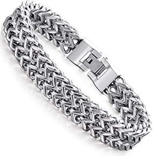 Stainless Steel 12MM Two-Strand Wheat Chain Bracelet for...