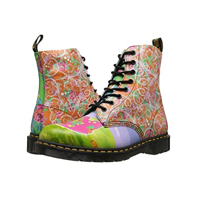 Dr. Martens Pascal Daze 8-Eye Boot (White Backhand/Daze Print) Women