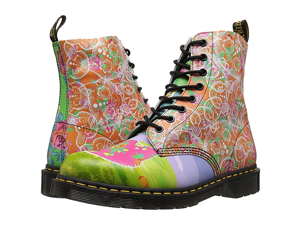 Dr. Martens Pascal Daze 8-Eye Boot (White Backhand/Daze Print) Women