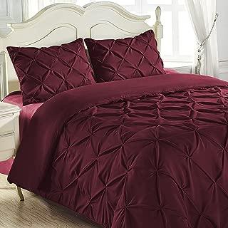 King & Queen Home Reinforced Double Stitch 3 Piece Pinch Pleat Comforter Set (Queen, Burgundy)