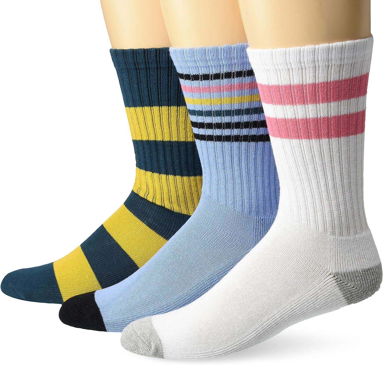 Goodthreads Men's 3-Pack Striped Ribbed Crew Sock