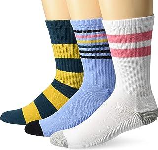 Goodthreads, Marca Amazon - Goodthreads 3-pack Striped Ribbed Crew Sock - casual-socks Hombre