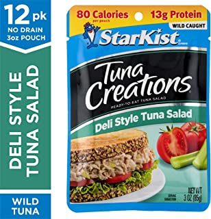 StarKist Tuna Creations Deli Style Tuna Salad – 3 oz. Pouch, Pack of 12 – Delicious, Convenient Wild Caught Tuna Salad Pouches for On-the-Go – Perfect for To Go Snacking or Lunch (Packaging May Vary)