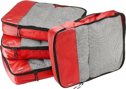 Amazon Basics Lot de 4sacoches de rangement pour bagage TailleL, Rouge