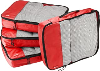 Amazon Basics 4 Piece Packing Travel Organizer Cubes Set - Large, Red