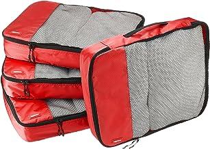 AmazonBasics 4 Piece Packing Travel Organizer Cubes Set - Large, Red