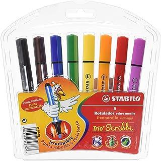 Stabilo Trio Scribbi - Rotulador triangular, 8 colores