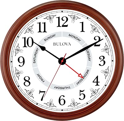 "Bulova Daily Wall Clock, 18"", Brown Cherry"