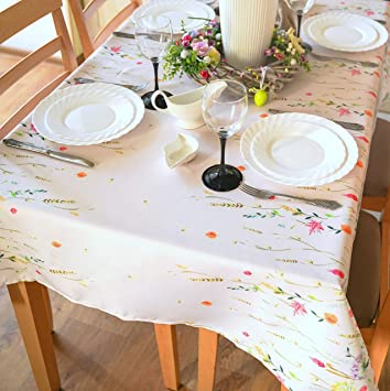 Amazon Com Floral Coloring Easter Tablecloth Non Iron Stain Resistant Spring Table Cover Perfect For Easter Kitchen Indoor Dining Room Outdoor Easter Decorations Ecru Easter2 Square 52 X52 Kitchen Dining