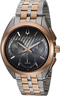 Men's Curv Quartz Watch with Two-Tone-Stainless-Steel Strap, 22 (Model: 98A160)