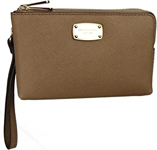 Michael Kors Women's Luggage Double Gusset Saffiano Leather Wristlet - Tan