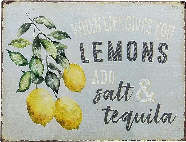 谷仓前设计当生活给你柠檬添加盐龙舌兰酒有趣复古复古锡酒吧标志乡村家居装饰 13X10