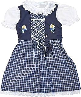 Schrammel Kinder Dirndl mit Beutelchen 3 Teilig // 127-130 Classic auch für Mollige Kinder in Gr 146-152