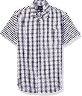 A X Armani Exchange Men's Checkered Short Sleeve Button Down Shirt with Collar