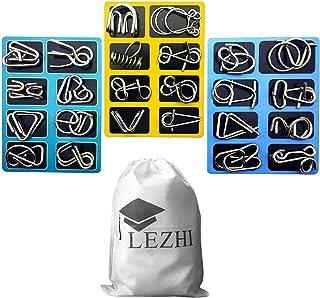 LEZHI IQ Toys, IQ Test Mind Game Toys Brain Teaser Metal Wire Puzzles Magic Trick Toy, Metal IQ Puzzle (A+B+C)