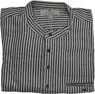 Lee Valley - Men's Genuine Irish Striped Cotton Flannel Grandfather Shirt, LVC Navy/Cream