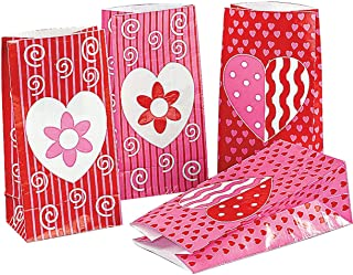 Valentine Gift Bags (24 Pack) Valentine's Day Paper Bags - for Kids Party Favors, Giveaways, Gift Holders, Classroom Excha...