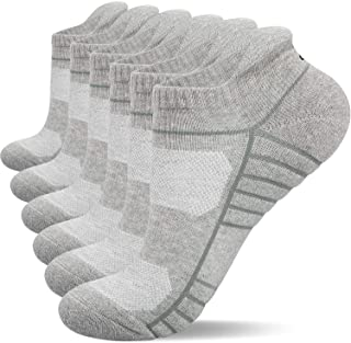 Anqier Mens Socks, 6 Pairs Running Socks for Women Anti-Blister Cushioned Cotton Odor-free Trainer Socks for Men Ladies Sp...