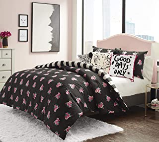 Betsey Johnson Romantic Roses Comforter Set, Queen, Black