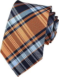Elfeves Men Modern Tartan Formal Ties Checks Plaid Gingham Pattern Woven Necktie