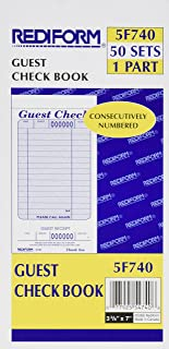 Rediform Guest Check Pad, White, 3.375 x 7 Inches, 50 Forms (5F740)