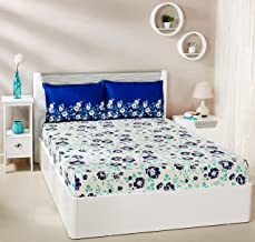 Amazon Brand - Solimo Jasmine Zest 144 TC 100% Cotton Double Bedsheet with 2 Pillow Covers, Blue