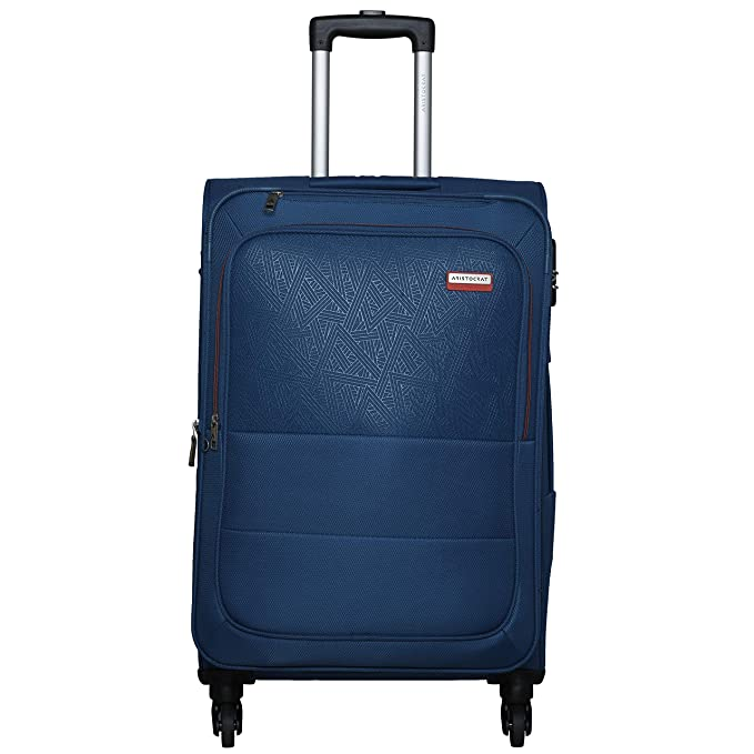 Aristocrat Sorento 4W Exp Polyester Strolley Luggage  Blue  Suitcases   Trolley Bags