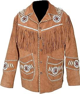 Men's Western Jacket Brown Suede Leather Fringed & Bones