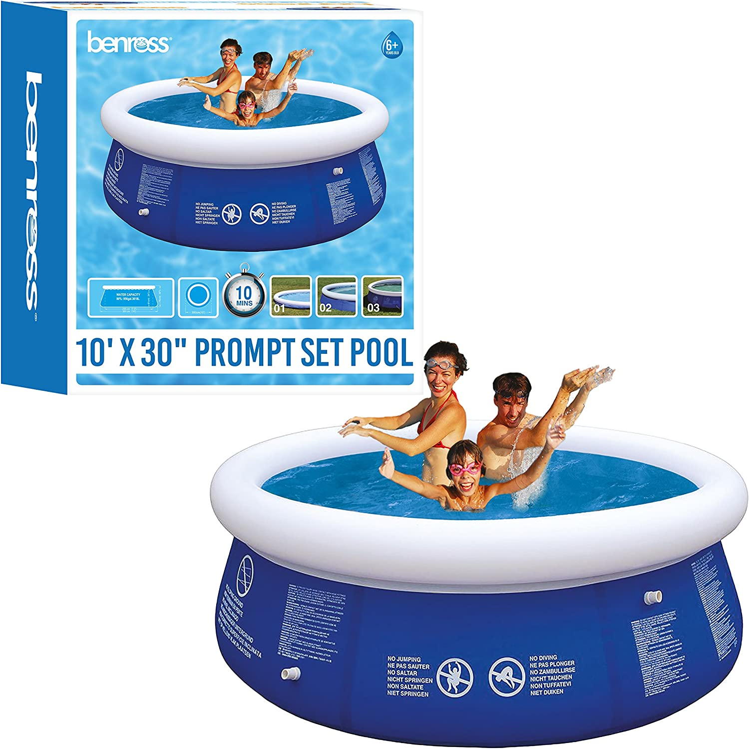 Benross 84880 10ft Garden Round Inflatable Prompt Set Swimming Pool (Extra Large), bluee