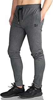 Mens Zip Joggers Pants - Casual Gym Workout Track Pants Comfortable Slim Fit Tapered Sweatpants with Pockets