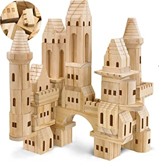 FAO Schwarz Medieval Knights & Princesses Wooden Castle Building Blocks, 75 Piece Set