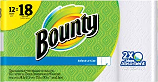 Bounty Select-A-Size Paper Towels, White, Giant Roll - 12 pk