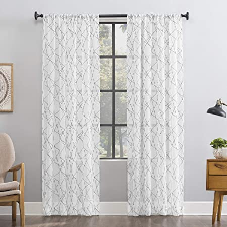 Amazon Com No 918 Fraction 2 Pack Mid Century Modern Geometric Embroidery Semi Sheer Rod Pocket Curtain Panel Pair 50 X 84 Gray Home Kitchen