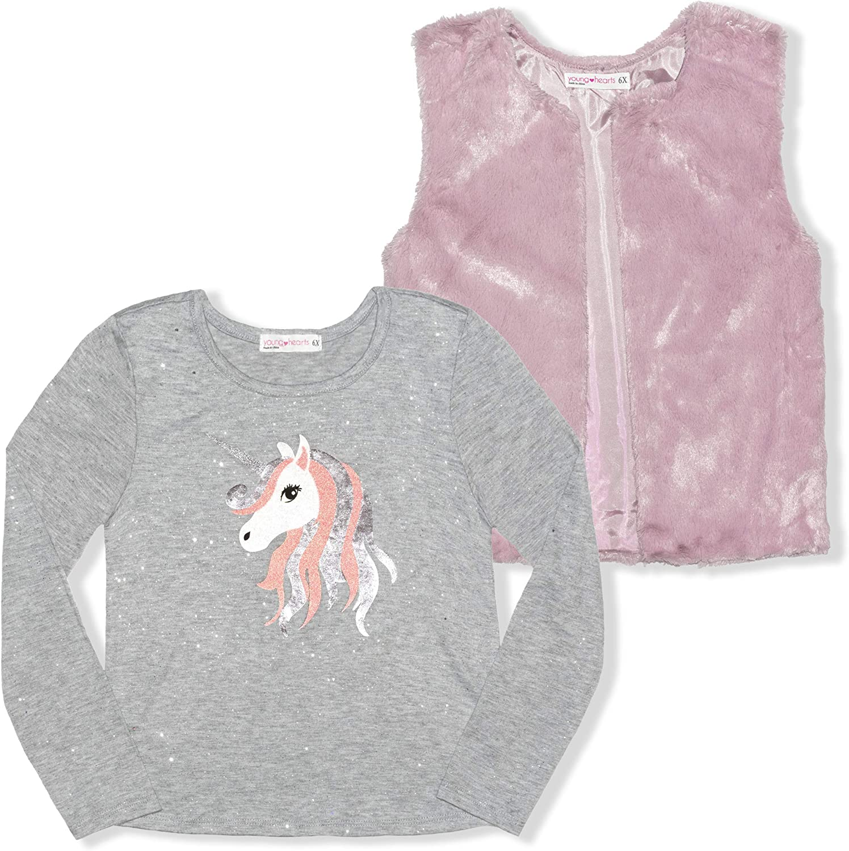 Young Hearts Long Sleeve Shirt and Unicorn Max 70% wholesale OFF Faux Fur Vest Pr Set